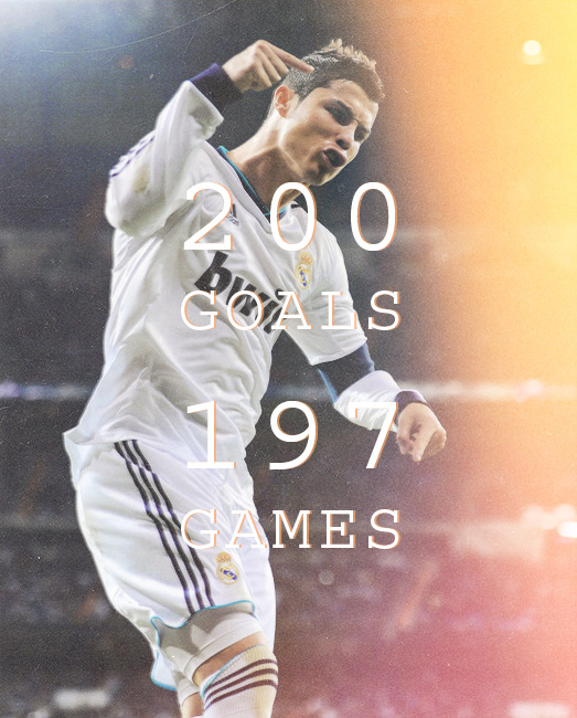 Cristiano Ronaldo celebrates his 200th goal in La Liga.