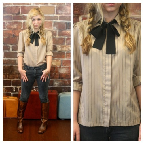 littlebrooklynvintage:  Just listed - 80s Dusty Tan/Black Striped Bow-Tie Blouse M/$28 - Shop here