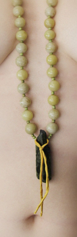 wannabe prayer mala [i only had 60 beads] / silk, stone, clay.