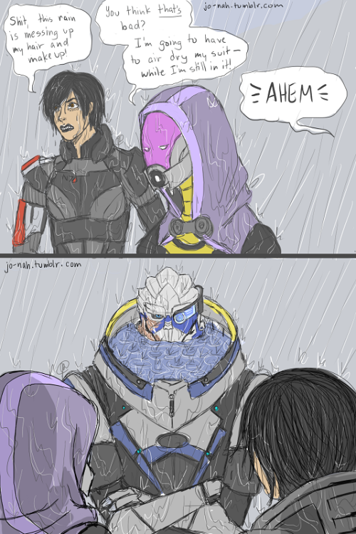 Mass Effect Monday: Leviathan comics by jo-nah:  Garrus doesn't want to hear about who has it bad right now. So I was playing the Leviathan DLC and…is it too late to add to that thing about water collecting in Garrus's armor?