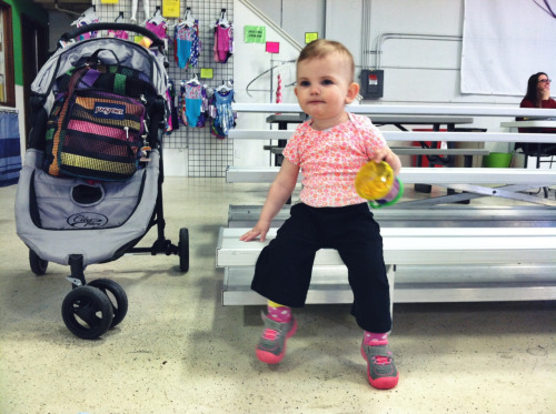 Every Wednesday morning, Rosemary has a gymnastics class. It's not mommy-and-me, so Anthea and I patiently wait. And by that, I mean I chase her as she scales stairs, tries to beeline for equipment, and generally goes everywhere but the designated play area. Some day, kiddo, you can do gymnastics, too!
