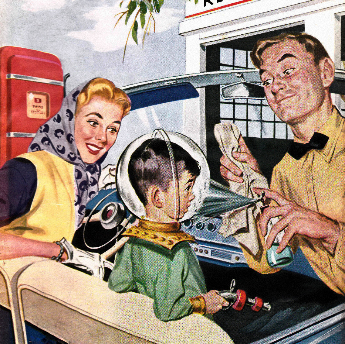 theniftyfifties:  'Full Service' - detail from Motor Magazine cover, May 1955.