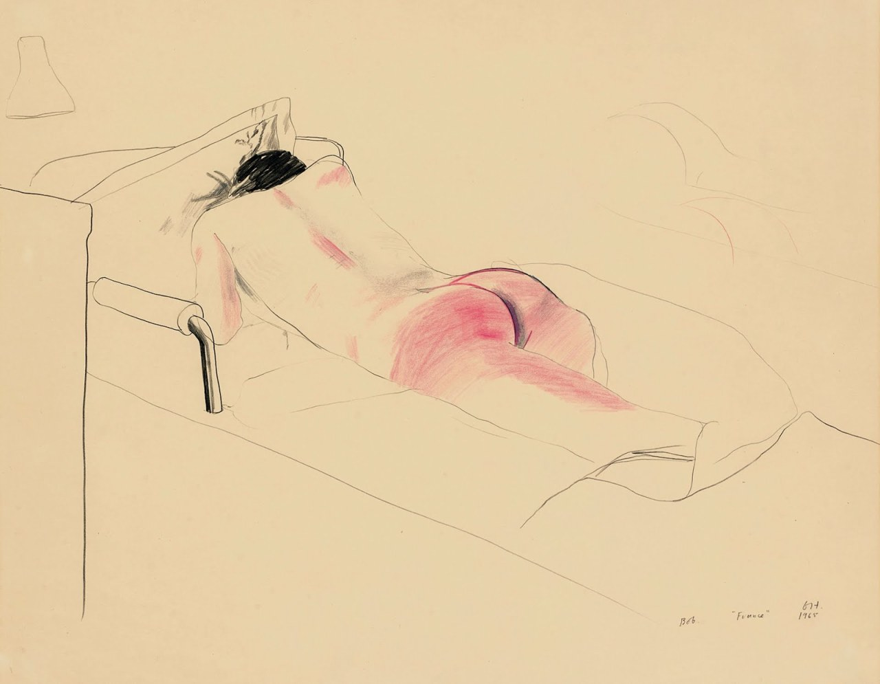 "satanasa:  David Hockney, Bob Aboard the ""France"", 1965. Drawing"