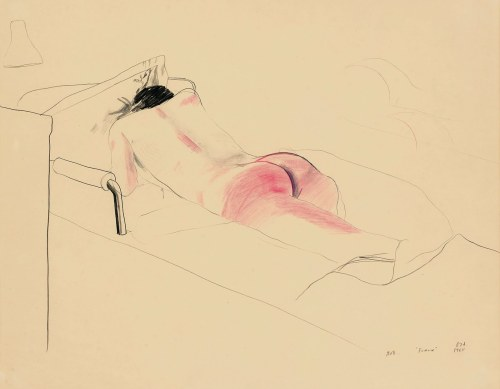 "David Hockney, Bob Aboard the ""France"", 1965. Drawing"