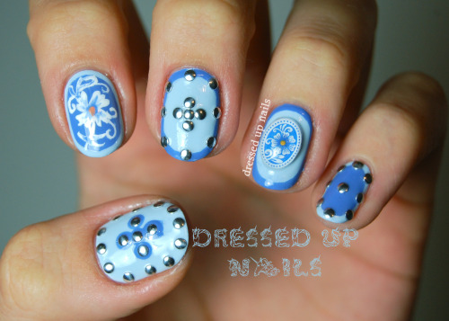dressedupnails:  Framing, floral, and studs using cool stuff from KKcenterHK! Check out the full post for a review and details about how I did these.