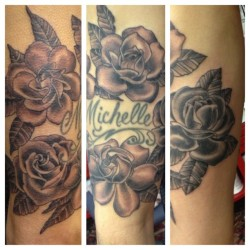 #picstitch #blackandgrey #roses #gardenias (at Goldfield's Tattoo Studio)