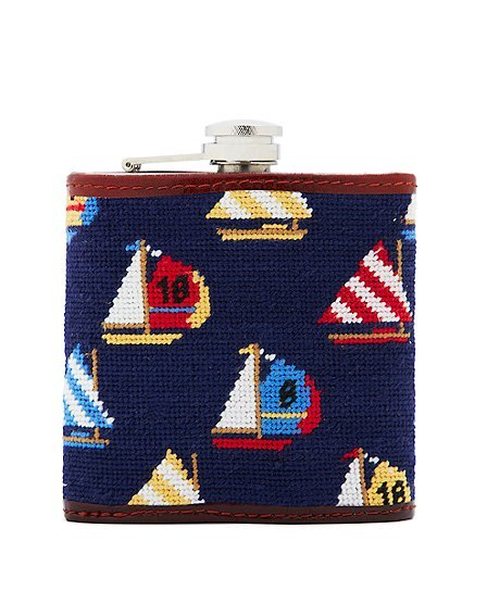 curlsclassandpearls:  gqmcgee:  Brooks Brothers Red Fleece Needlepoint Sailboat Flask - ($78)  This is beyond perfect for Eason.