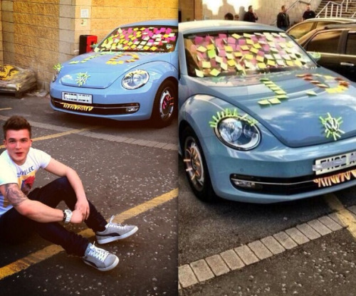 Josh Devine's car - decorated by Harry and 5SOS