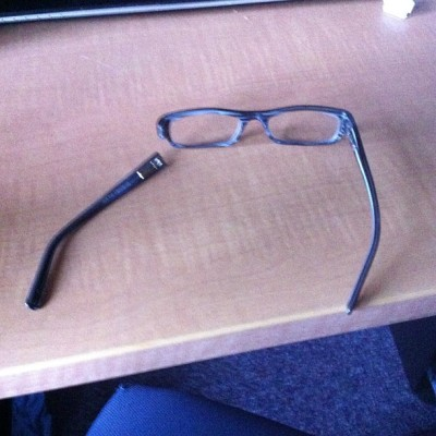 When I tried to take of my glasses to put contacts in, I think my glasses got offended. That's why they fell to pieces.
