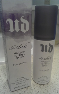 Review: Urban Decay De-Slick Makeup Setting Spray - Oil Control I actually don't have too much to say about this product. I spray this onto my face after my moisturizer but before foundation, and then again after I've applied foundation but before my face powder. And it does a good job at absorbing my oils once it's dried. However, it doesn't provide oil control for my face the whole day. In fact, my skin still gets oily after a few hours. Good spray, but for $30 I would expect something much more effective. I have since given up on trying to find makeup products & setting sprays to control my oil and am changing up my skin care routine to try and actually balance my skins oil production. So I will not be repurchasing ): Hope this review was helpful! xoxo