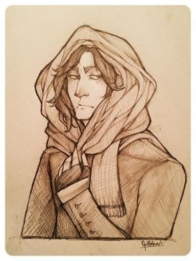 severus-snape-my-eternal-prince:  via Snape in a snood by ~Griffinhart on deviantART Cute! ♥