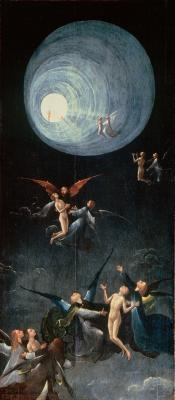 "Hieronymus BoschParadise: Ascent of the Blessed 1500-04Oil on panel, 86,5 x 39,5 cmPalazzo Ducale, Venice ""The actual entry of the saved into Heaven is depicted on a separate panel presenting a vision of celestial joy. Shedding the last vestige of their corporeality, the blessed souls float upwards through the night, scarcely supported by their angelic guides. They gaze with ecstatic yearning towards the great light which bursts through the darkness overhead. This funnel-shaped radiance, with its distinct segments, probably owes much to contemporary zodiacal diagrams, but in Bosch's hands it has become a shining corridor through which the blessed approach that final and perpetual union of the soul with God which is experienced on earth only in rare moments of spiritual exaltation."""