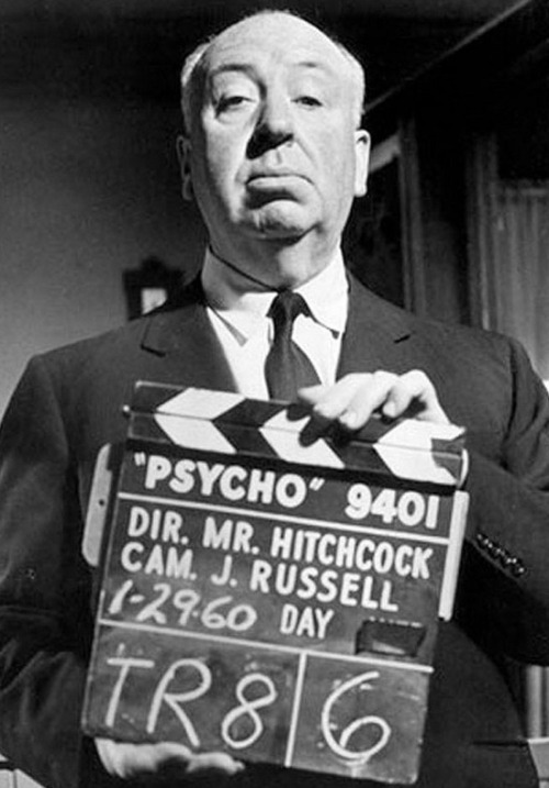 theswinginsixties:  Alfred Hitchcock on the set of 'Psycho', 1960.   I prefer The Birds, but Psycho is neat