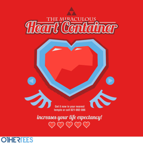 This great T-shirt design, 'The Miraculous Heart Container' by artist Azafran, is available to purchase now over at OtherTees.com! You can also find more of Azafran's work at www.redbubble.com/people/azafran and www.facebook.com/azafranart