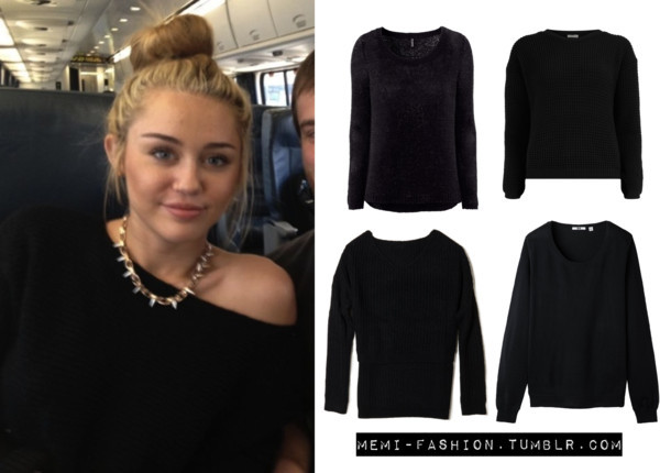Dress For Less Miley's Jumper.  H&M Jumper Black square knit jumper Forever21 Ribbed High-Low Sweater Women Extra Fine Merino Round Neck Sweater