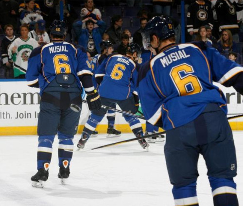 On Sunday, January 27 the St. Louis Blues all wore Stan Musial tribute jerseys during warmups.  Source: UniWatch.com Image from the Flick account of Permanent Record (aka Paul Lukas, aka UniWatch)