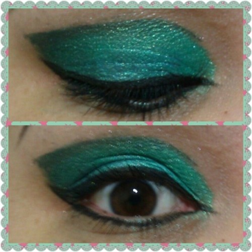 Today's makeup. I used @rockeresque's #Sparrow, #LittleLamb and #MyMonster, all applied wet. #eyeshadow #makeup #RockeresqueBeautyCompany