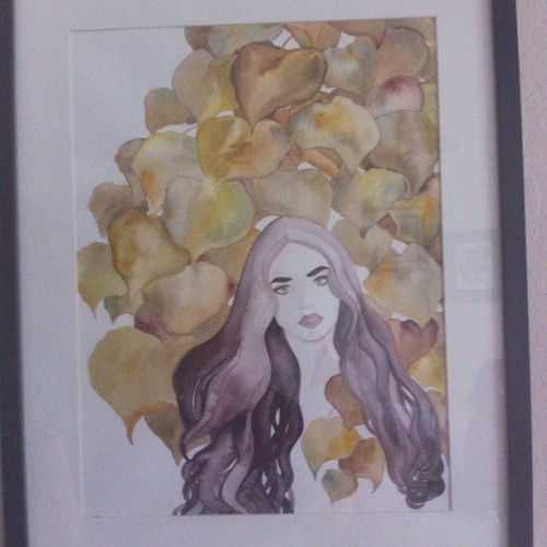 An older painting of mine on display #watercolor #painting #portrait #leaves #background #illustration #art