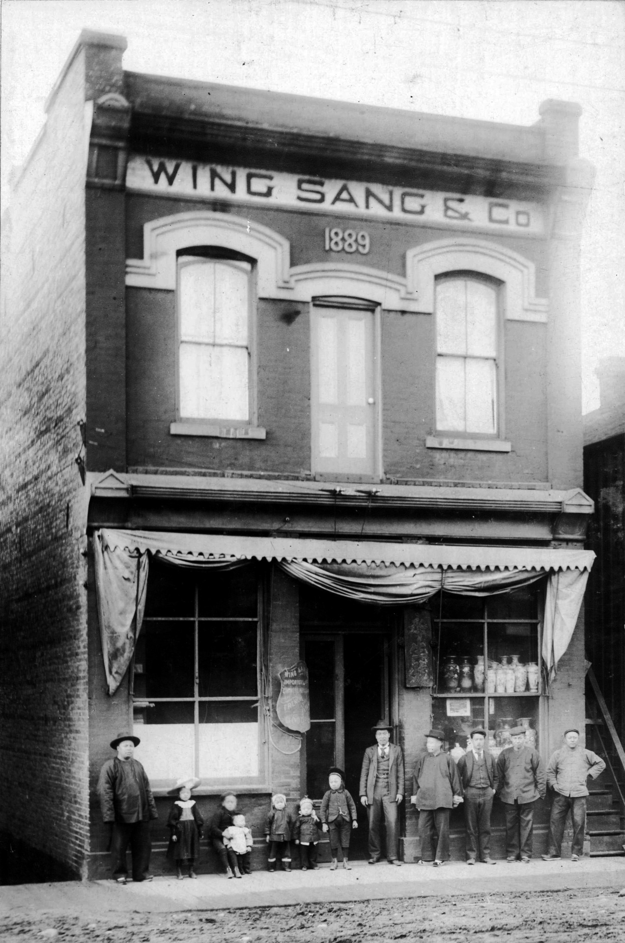 Yip Sang et al at 51 Dupont Street, 1900 The Wing Sang building is Chinatown's oldest building. Yip Sang was probably the most successful business men in Chinatown, largely through providing Chinese labourers to the Canadian Pacific Railway. Through this store he was a retailer, wholesaler, and importer of Chinese goods, including opium. Source: Photo by A Milne, City of Vancouver Archives #689-52