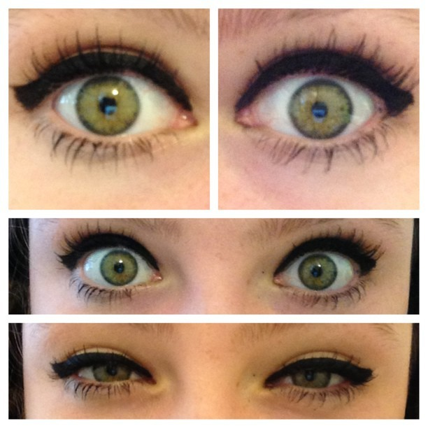 My eyes right now» #nofilter #green #eyeliner #picstitch