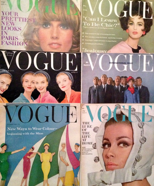 Lots of 50's & 60's Vogue magazines listed for sale  http://www.ebay.com/sch/my_vintage_vogue/m.html?_nkw=&_armrs=1&_from=&_ipg=&_trksid=p3686