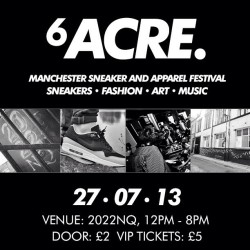6ACRE presents the first lifestyle trainer festival to be held in Manchester ~ will you be there? #size #6acre @6acre_kicks #sizehq  (at www.sizestores.co.uk/hq)