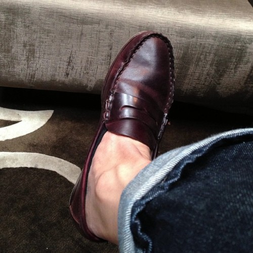 Old favorites: special order penny loafers in whiskey cigar shell via Carmina for The Armoury.