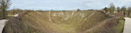 Lochnagar Crater - from the explosion of a mine on the first day of the battle of the Somme, 1 July 1916. Note how small I am for scale.