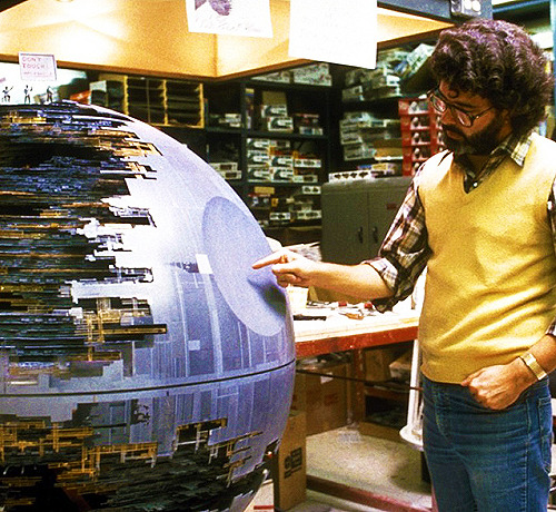 fuckyeahdirectors:  George Lucas on the set of Star Wars: Episode VI - The Return of the Jedi (1983)  That's no moon…