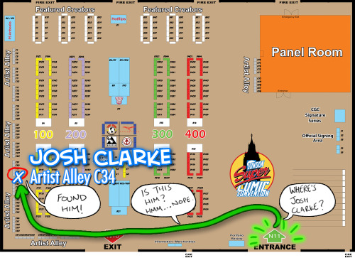How to find me at this weekend's London Super Comic Convention! Please come by early on the day… best way to guarantee you get a drawing! http://twitter.com/JoshClarkeDraws http://JoshClarkeDraws.tumblr.com http://JoshClarkeDraws.deviantart.com http://fb.com/JoshClarkeDraws