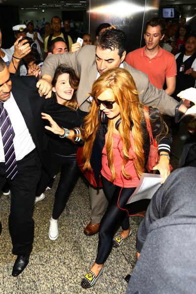 Lindsay Lohan arrivingin Brazil on Thursday.