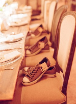 themeanalysis:  leave a pair of shoes on the seats for the groomsmen to change into at the reception