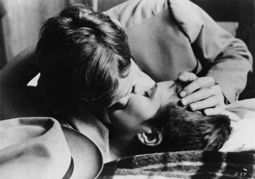 Jean Paul Belmondo as Michel Poiccard in a love scene from Breathless directed by Jean Luc Godard, 1960