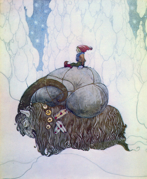 Julbocken by John Bauer, 1912. The Yule Goat is one of the oldest symbols of Yule/Christmas in Sweden. The goat was originally a sacrifice, but in the 19th century it became the one who brought gifts on Christmas Eve. Though the goat was eventually replaced as the bringer of gifts, it is still popular as a holiday decoration.