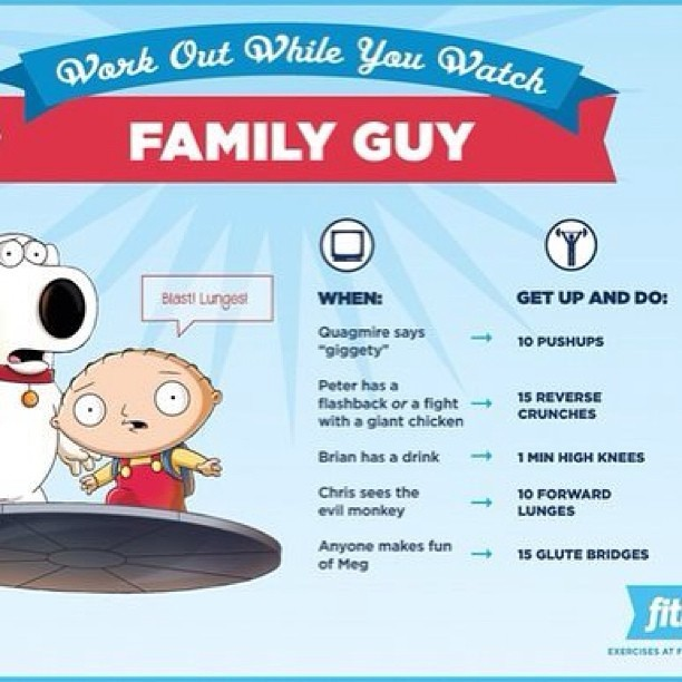 yungin93:  #workout while you #watch #familyguy #stewie #brian #lous #peter #chris #meg #funny #like #follow  Do it.