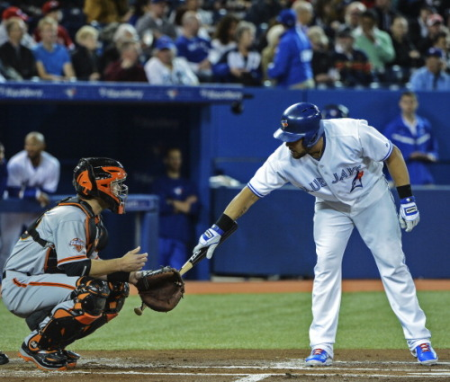 yankeegirl:  Toronto Blue Jay Melky Cabrera taps former teammate Buster Posey before his at bat