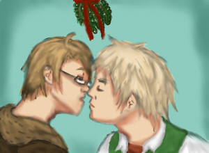 Merry Christmas Damsey! neh, so here is a Christmas pic I drew for one of my rp partners. The hair on both Arthur and Al I wish came out looking a bit better, Al's glasses are a bit off and I fail at drawing mistletoe and coming up with cool backgrounds. Orz  But I hope you like it anway! Happy Holidays! ~Hero