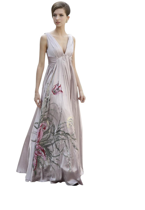 METALLIC ROSE A LINE EVENING DRESS WITH FLORALS  SKU# 80159 Be the first to review this product Availability: In stock £265.00