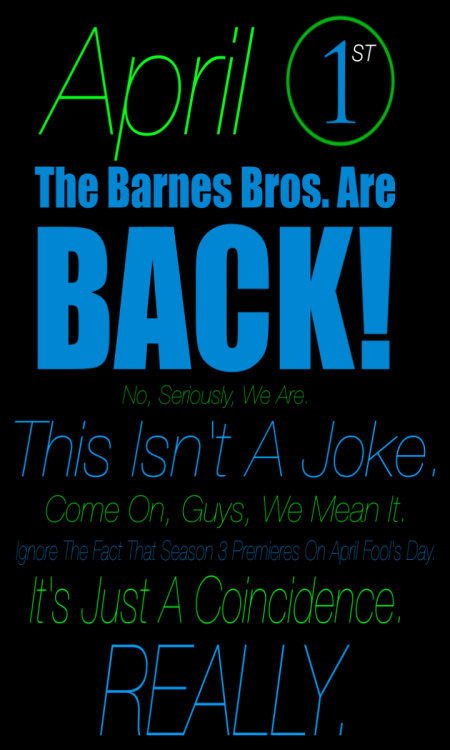 Season 3 of Barnes Bros. TV premieres April 1st!
