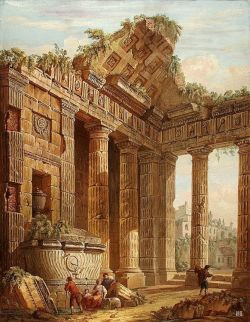 hadrian6:  Architectural fantasy. 1781. Charles Louis Clerisseau. French. 1721-1820. gouache, pen and brown wash. http://hadrian6.tumblr.com