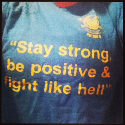 """Stay strong, be positive & fight like hell"" my favourite workout shirt #beatstobeatcancer #inspiration"
