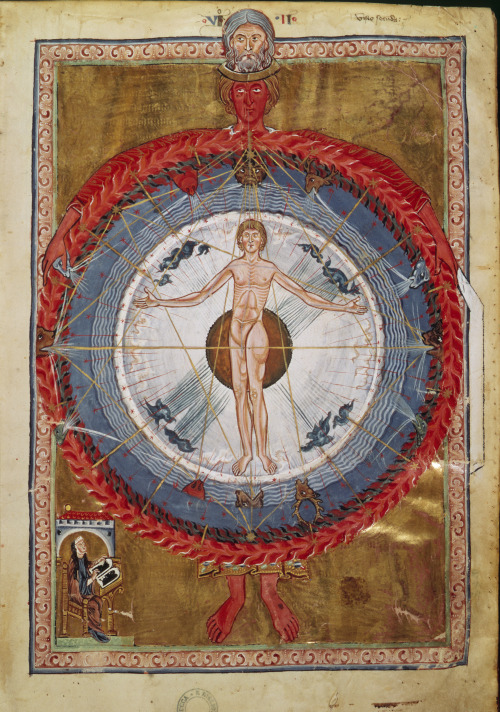 Second vision of Saint Hildegard von Bingen, from the Liber Divinorum Operum  In the middle of this gigantic wheel appeared a human. The top of his head projected upward, his toes reached down to the sphere of the strong white and shining air. On the right there were the finger tips of the right hand and on the left there were the ones of the left hand. Both reached out towards the curvature of the circle forming a cross. Just like this he also reached out his arms…   Read the entire description at The Lion and the Cardinal