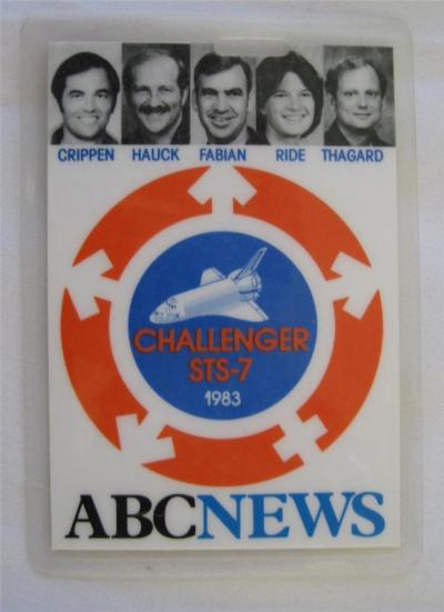 kaiyves:  lightthiscandle:  ABC press badge for the launch of STS-7, as seen on eBay. STS-7 featured the first American woman in space, Sally Ride. The designers of the badge took note of this fact, as shown by the symbols surrounding the shuttle.  It's that way on the mission patch, too, but the circle is smaller and more in the background, so it's easier to miss.