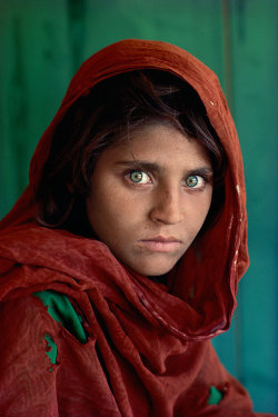 "boredomandterrorconsume:  acidus:  plagved:  Sharbat Gula is an Afghan woman who was the subject of a famous photograph by journalist Steve McCurry. Gula was living as a refugee in Pakistan during the time of the Soviet occupation of Afghanistan when she was photographed. The image brought her recognition when it was featured on the cover of the June 1985 issue of National Geographic Magazine at a time when she was approximately 12 years old. Gula was known throughout the world simply as ""the Afghan Girl"" until she was formally identified in early 2002. The photograph has been likened to Leonardo da Vinci's painting of the Mona Lisa and is sometimes popularly referred to as ""the Afghan Mona Lisa"".  honestly one of my favorite photographs; this is actually the photo that got me into wanting to become a photojournalist  I had a crush on her when I was younger…   A beautiful girl. They went back and took another photo of the woman - her face is a bit weathered but her eyes— such beauty"