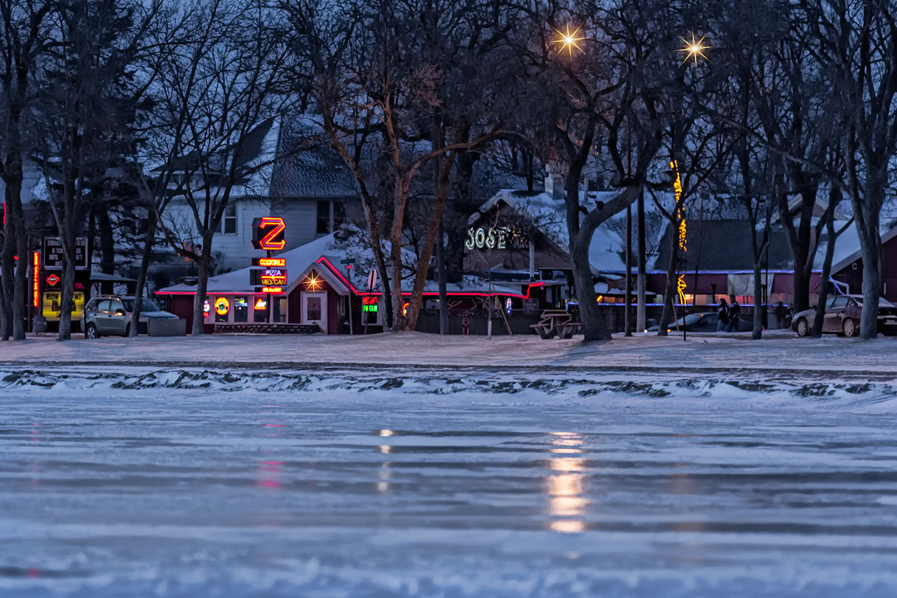 Zorbaz in winter. Detroit Lakes, Minnesota