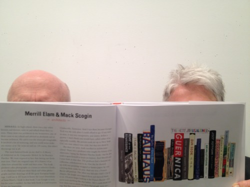 Here's a shot of two good friends of Ideal Bookshelf, Mack Scogin and Merrill Elam. They are two amazing architects, and we loved featuring their ideal bookshelf, which is full of wonderful books about buildings and places and art that I don't think many of us in our day to day get to read. We wanted to share this photo of Mack and Merrill because it so perfectly captures the spirit of Jane's paintings and the book!