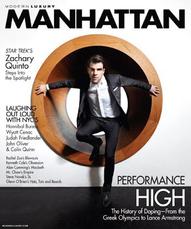Zachary Quinto suits up in Dior Homme for April's Manhattan Magazine issue.