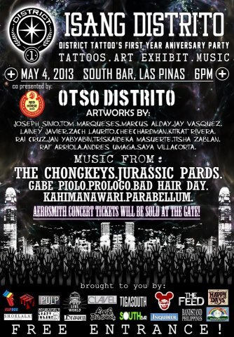 SUPPORTA! ISANG DISTRITO:  District Tattoo's First Year Anniversary Partyhttps://www.facebook.com/allpainnoregretsEVENT PAGE: https://www.facebook.com/events/559114824111391/