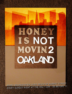 Poster series razzing the changing landscape of San Francsico's in its second internet boom. Poster by J. Sperber