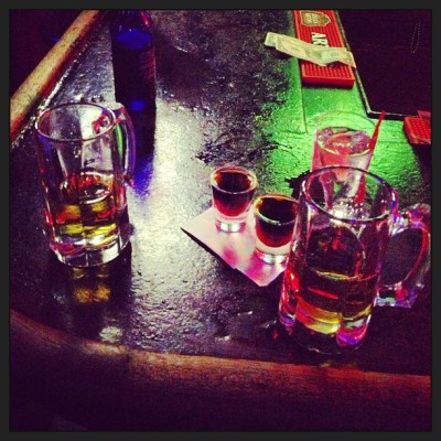 Jägerbombs with @eden_likethegarden #nyc #jager #drinking #alcohol #divebar #iphoneonly #lowlight  (at NYC)